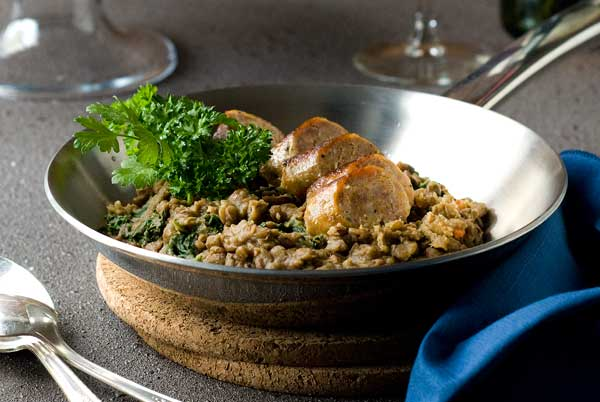gluten free lentils and sausages